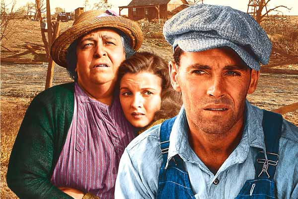 image of distraught dust bowl family (Joads) from Grapes of Wrath: Where Now?